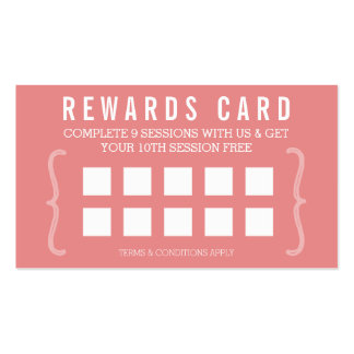 REWARD PUNCH CARD simple minimal trendy chic coral Pack Of Standard Business Cards