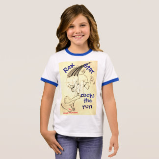 """Rex Star rocks the Run"" Girls Ringer Tee"