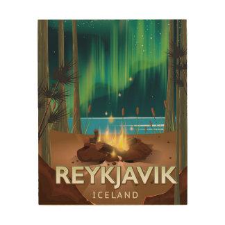 Reykjavik Camping Vintage Travel Poster