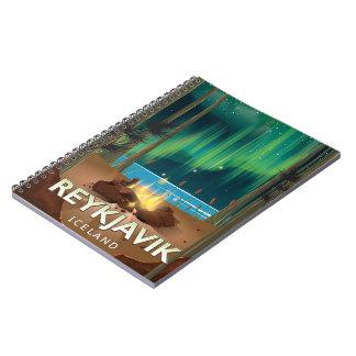 Reykjavik Camping Vintage Travel Poster Spiral Notebook