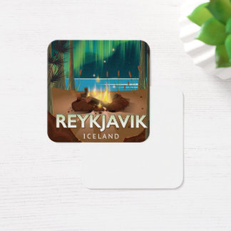 Reykjavik Camping Vintage Travel Poster Square Business Card
