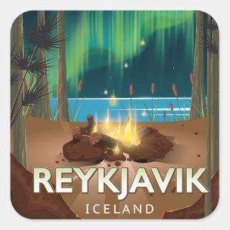 Reykjavik Camping Vintage Travel Poster Square Sticker