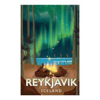 Reykjavik Camping Vintage Travel Poster Stationery