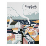 Reykjavik, Iceland Vintage Travel Poster