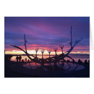 reykjavik sunset greeting card #3