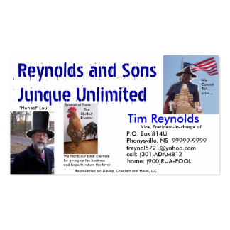 Reynolds&Sons Junque Unlimited Bidnis Card Pack Of Standard Business Cards