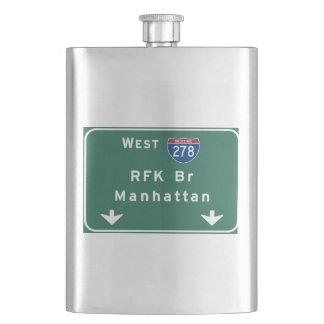 RFK Bridge I-278 Interstate NYC New York City NY Hip Flask
