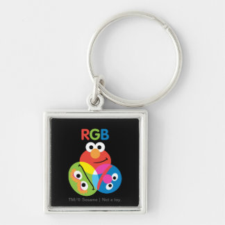 RGB Sesame Street Silver-Colored Square Key Ring
