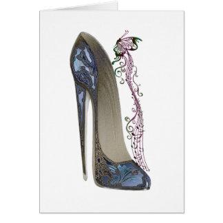 Rhapsody in Blue Stiletto and Butterfly Music Art Card