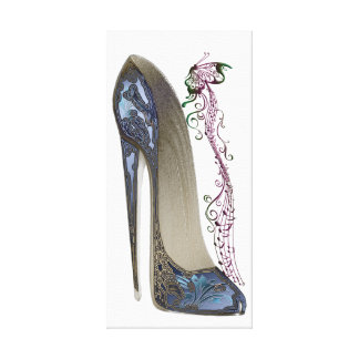 Rhapsody in Blue Stiletto Shoe Art Canvas Print