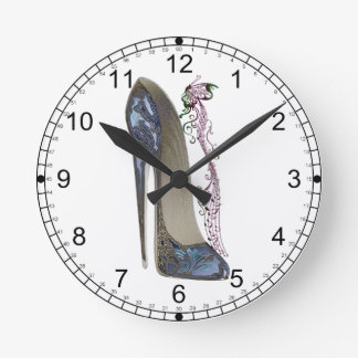 Rhapsody in Blue Stiletto Shoe Art Round Clock