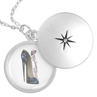 Rhapsody in Blue Stiletto Shoe Art Round Locket Necklace