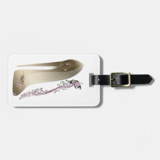 Rhapsody in Gold Stiletto Shoe Art Luggage Tag