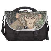 Rhesus Macaque, Watercolor Laptop Messenger Bag