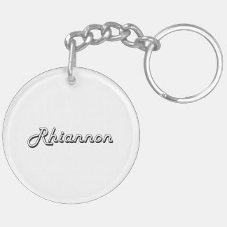 Rhiannon Classic Retro Name Design Double-Sided Round Acrylic Key Ring