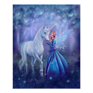 Rhiannon - Unicorn and Fairy Art Poster Print