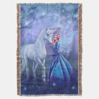 Rhiannon - Unicorn and Fairy Art Throw Blanket