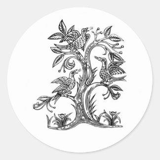 Rhiannon's Singing Birds Classic Round Sticker