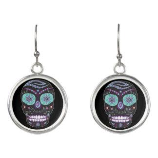 Rhinestone Skull Earring - Skull Jewelry Purple Earrings