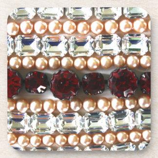 Rhinestones and pearls - vintage jewelry beverage coaster