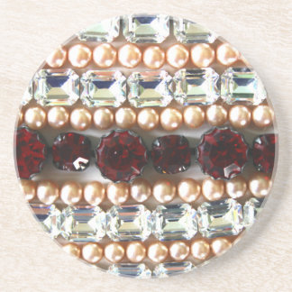 Rhinestones and pearls - vintage jewelry drink coaster