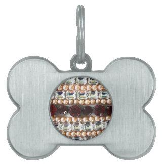 Rhinestones and pearls - vintage jewelry pet tag