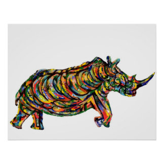 Rhino Abstract Poster