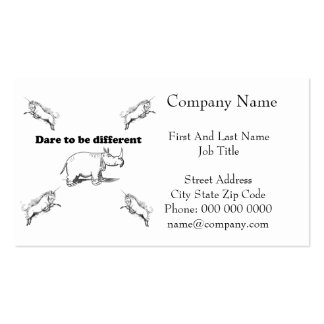 Rhino Among Unicorns Dare to be Different Cartoon Pack Of Standard Business Cards