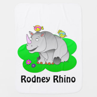 Rhino and bird frinds pramblankets