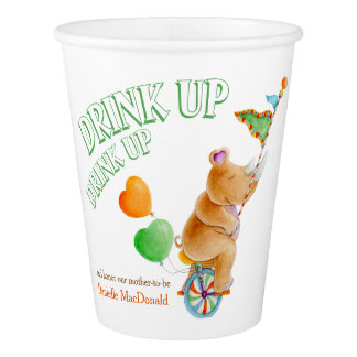 Rhino art baby shower custom paper cups