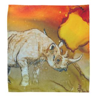 Rhino At Sunset Head Kerchief