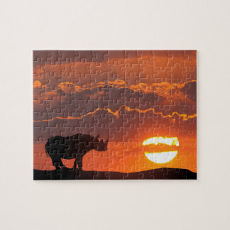 Rhino at sunset, Masai Mara, Kenya Jigsaw Puzzle