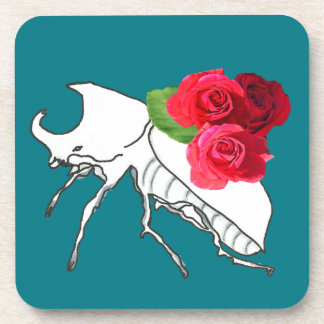 Rhino Beetle with Roses Coaster