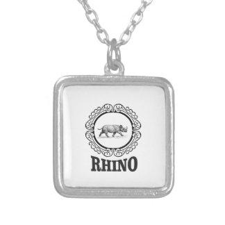 rhino club silver plated necklace