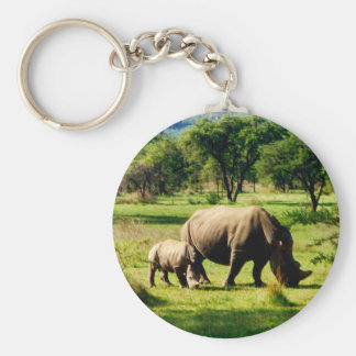 rhino family basic round button key ring