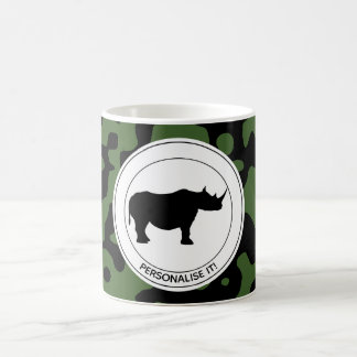 Rhino in camouflage background coffee mug