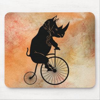 Rhino on Vintage Bike Mouse Pad