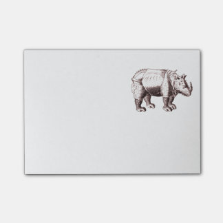 Rhino - Renaissance Style Drawing of a Rhinoceros Post-it Notes