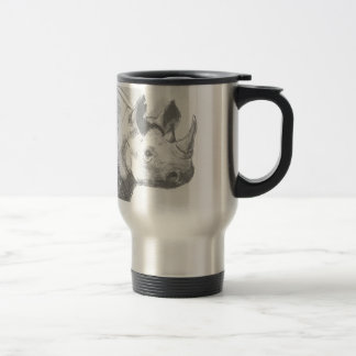 Rhino Rhinoceros Pencil Drawing sketch Travel Mug