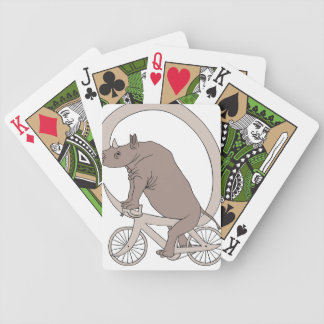 Rhino Riding With Its Horn Bike Bicycle Playing Cards