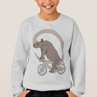 Rhino Riding With Its Horn Bike Sweatshirt