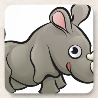 Rhino Safari Animals Cartoon Character Coaster