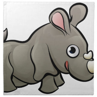 Rhino Safari Animals Cartoon Character Napkin