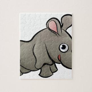 Rhino Safari Animals Cartoon Character Puzzle