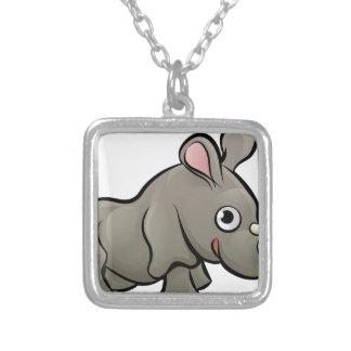 Rhino Safari Animals Cartoon Character Silver Plated Necklace