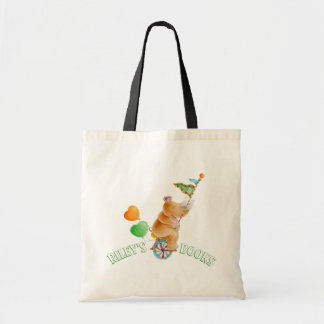 Rhino unicyclist circus art name library bag