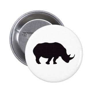 Rhino Vintage Wood Engraving Pinback Buttons