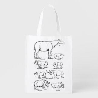 rhinoceros animal science rhino biology drawing reusable grocery bag