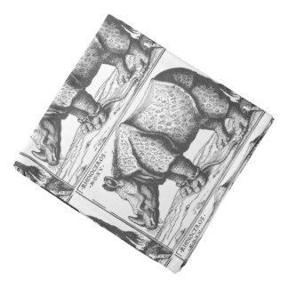 Rhinoceros antique woodcut for men bandana