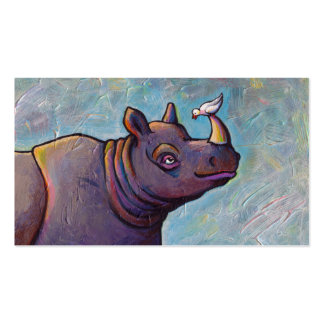 Rhinoceros art little bird gossip fun painting business card